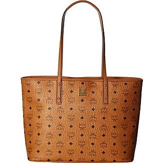 Mcm Anya Per Top Zip Medium Cognac Tote Handbags