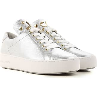 Sneakers for Women On Sale, Silver, Leather, 2017, 4 Michael Kors
