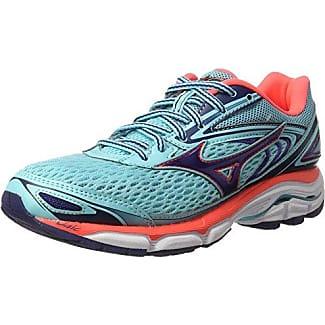 Mizuno Wave Inspire 12 Jnr - Zapatillas de Running para Chico, Color Azul (Surf The Web/Silver/Safety Yellow), Talla 34