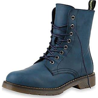 Damen Schnürstiefeletten Leicht Gefüttert Stiefeletten Profilsohle Schuhe 149693 Blau Bernice 38 Flandell