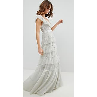 Tiered Scattered Sequin Gown - Bleached blue Needle & Thread