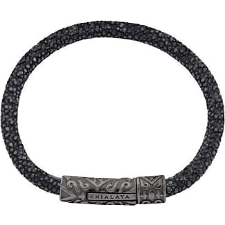 Nialaya Black Python Bracelet with Silver Accents - Extra Large