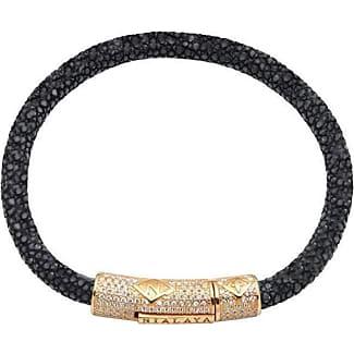 Nialaya Black Stingray Bracelet with Gold Lock - Extra Large