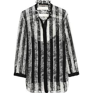 Nina Ricci Woman Lace-paneled Ruffle-trimmed Cotton-poplin Shirt White Size 36 Nina Ricci