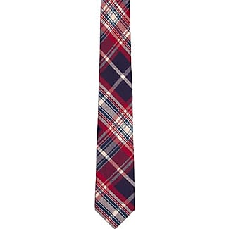 Cotton Slim necktie - Plaid with blue and beige base and red lines - Notch RHYS Notch