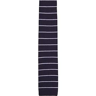 Slim necktie - Navy wool flat-knit with light blue stripes - Notch UWE Notch
