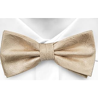Pre tied bow tie - White twill with tone-in-tone paisley Notch