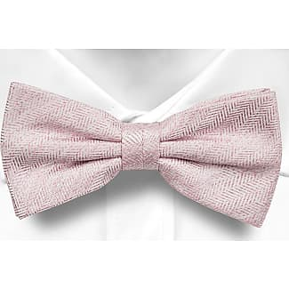 Pre tied bow tie - Dusty pink with tonal herringbone pattern Notch