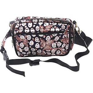 Novica Cotton batik shoulder bag and waist pack, Copper Stalk