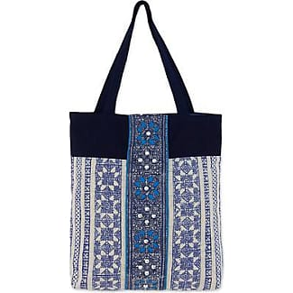 Novica Cotton with leather accent shoulder bag, Indigo Clouds