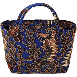 Novica Cotton batik shoulder bag, Java Romance