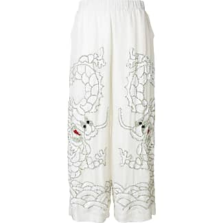 sequin dragon embroidered wide leg trousers - White P.A.R.O.S.H.