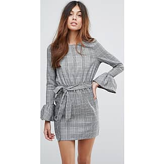 Check Dress With Flare Sleeve And Tie Waist - Grey Parisian