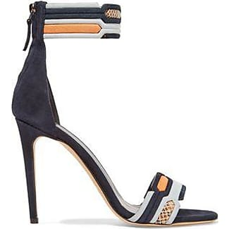 Peter Pilotto Woman Quilted Suede And Snake-effect Leather Sandals Azure Size 36.5