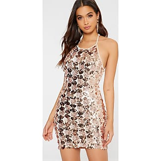 Pretty Little Thing Rose Gold Sequin Halterneck Bodycon Dress