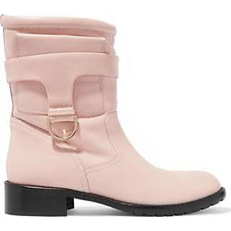 Redvalentino Woman Faux Fur Trimmed Leather Boots Pastel Pink Size 36 Red Valentino