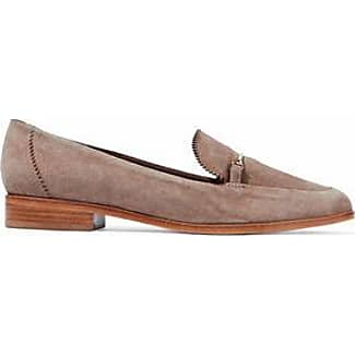Schutz Woman Metallic Leather-trimmed Suede Loafers Black Size 9.5 Schutz