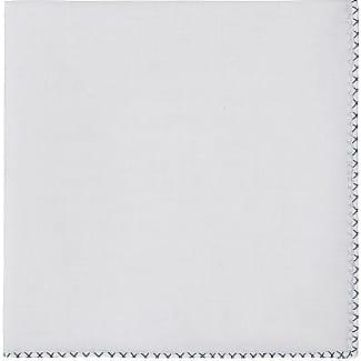 Mens Striped-Border Slub Handkerchief Simonnot Godard