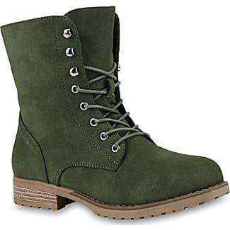 Damen Schnürstiefeletten Leder-Optik Profilsohle Stiefeletten Schuhe 121121 Khaki Amares 37 Flandell