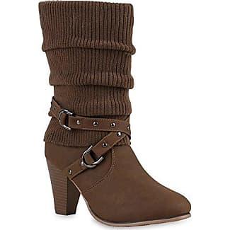 Warm Gefütterte Damen Winterstiefel Kunstfell Stiefel Profilsohle Schuhe 109821 Taupe Bömmel 36 Flandell