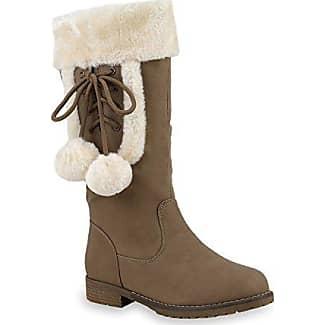 Warm Gefütterte Damen Winterstiefel Kunstfell Stiefel Profilsohle Schuhe 109821 Taupe Bömmel 39 Flandell