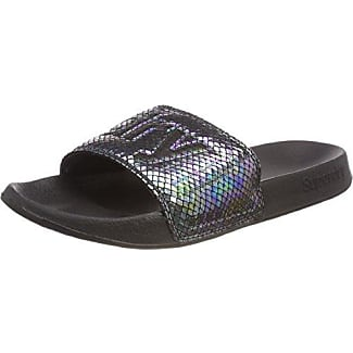Superdry Superdry Pool Slide, Chanclas Hombre, Multicolor (Optic Whiteblack), 44/45 EU