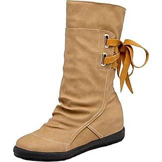 TAOFFEN Damen Klassische Martin Stiefel Niedrige Schuhe Brown Size 33 Asian