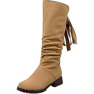 TAOFFEN Damen Klassischer Flache Lange Stiefel Winter Herbst Schuhe Yellow Size 34 Asian