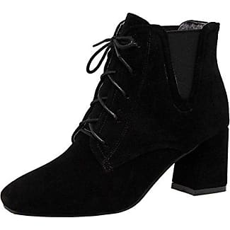 TAOFFEN Damen Mode Party Ankle Boots Kurze Stiefel Mit Blockabsatz Black Size 32 Asian
