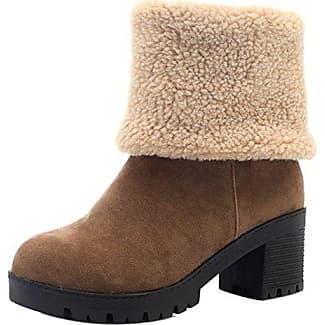 TAOFFEN Damen Casual Winter Warm Kurz Stiefel Plateauschuhe Gray Size 32 Asian