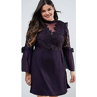 Premium Lace Mini Dress With Bow Sleeve Detail - Plum Truly You
