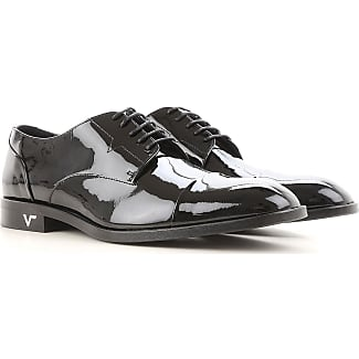 Lace Up Shoes for Men Oxfords, Derbies and Brogues On Sale, Black, Patent, 2017, 8 9 Versace