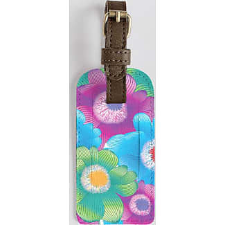 Leather Accent Tag - Tag with pink flowers by VIDA VIDA