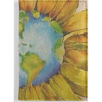 Leather Passport Case - SUNFLOWERS PASSPORT CASE by VIDA VIDA