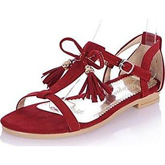 AllhqFashion Damen Mattglasbirne Schnalle Getrennt Zehe Zehentrenner Sandalen, Aprikosen Farbe, 35