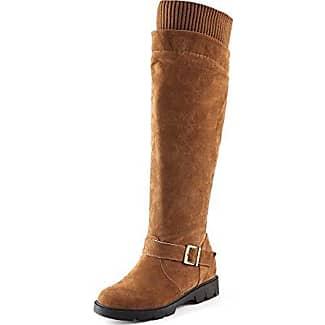 AgooLar Damen Rund Zehe Ziehen auf Hoch-Spitze Mittler Absatz Stiefel, Schwarz-Wasserdicht Plattform, 34