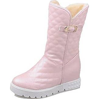 AgooLar Damen Niedrig-Spitze Ziehen auf Mittler Absatz Rund Zehe Stiefel mit Rivet Set, Pink, 39