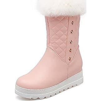AgooLar Damen Reißverschluss Mittler Absatz Weiches Material Rein Niedrig-Spitze Stiefel, Pink, 37