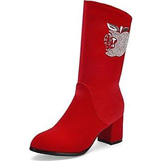 AllhqFashion Damen Mattglasbirne Rund Zehe Niedriger Absatz Reißverschluss Rein Stiefel, Rot, 34