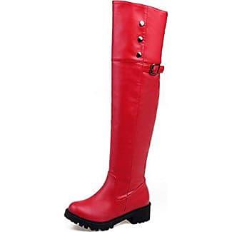 AllhqFashion Damen Rein Niedriger Absatz Rund Zehe Ziehen auf Stiefel mit Rivet Set, Aprikosen Farbe, 39