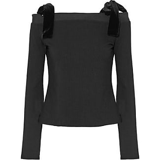 W118 By Walter Baker Woman Off-the-shoulder Velvet Bow-detailed Ribbed-knit Top Black Size L W118 by Walter Baker