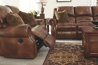 Marvelous Ashley Furniture Walworth Reclining Sofa, Auburn Leather