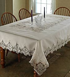 Violet Linen Imperial Embroidered Vintage Lace Design Oblong/Rectangle  Tablecloth, 70 X 120,