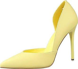 Damen Weiches Material Ziehen Auf Spitz Zehe Flache Schuhe mit Blumen, Golden-Blumen, 35.5 AalarDom