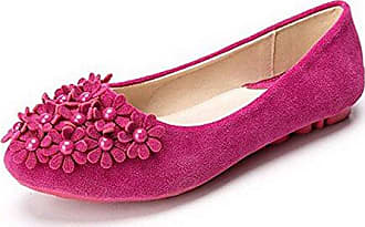 Womens Pull-On Frosted Round-Toe Solid Flats-Shoes with Bowknot and Jewels, Blue, 35 AalarDom