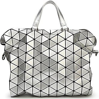 Aktentasche Frauen Tasche Handtasche Geometrische Tasche Cross-Body-Bag PU große Kapazität Neue Stilvolle Falten,Silver-L ADEFG