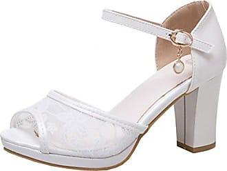Damen Peeptoes Blockabsatz Sandalen mit Riemchen und Plateau High Heels Pumps Elegant Schuhe Agodor Bk7UQ