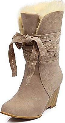KAFEI Damenschuhe coole Stiefel nach der Spitze Wildleder verstärkte Runde 34-41 Hang lässige Atmungsaktiv, beige, 36 YDA