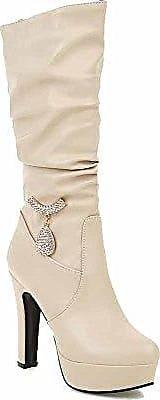 AllhqFashion Damen Niedrig-Spitze Rein Reißverschluss Stiefel mit Metall Schnalle, Cremefarben, 32