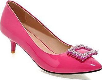 AgooLar Damen Spitz Zehe Ziehen auf PU Eingelegt Mittler Absatz Pumps Schuhe, Rosa, 32